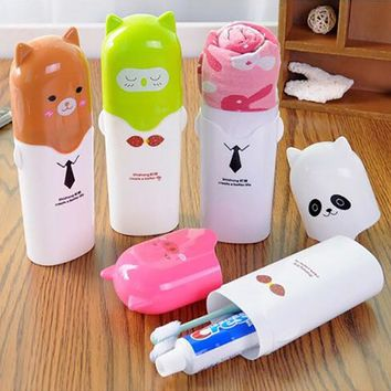 Cute Practical Household Towel Toothbrushes Children Holder Outdoor Travel Hiking Camping Tooth Brush Storage Case