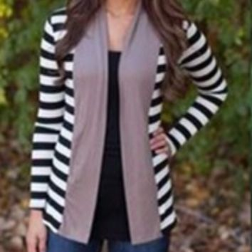Block Stripe Long Sleeve Cardigan