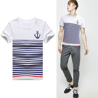 Short Sleeve Contrast Color Stripe Anchor Print Tee