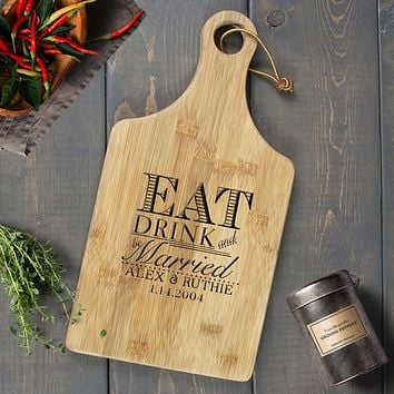 Personalized Engraved Paddle Cutting Board, Bamboo - CB11