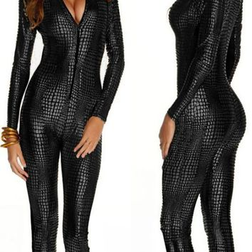 Women Catsuit Snakeskin Pattern Bodysuit Faux Leather Jumpsuit Catwoman Cosplay Fancy Dress Playsuit Sexy Party Clubwear