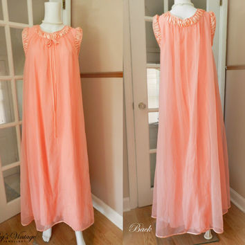 Vintage Linda Lingerie, Chiffon Coral Pink Long Nightgown, 50's 60's Peignoir Sleepwear Size Small