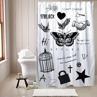 Tatto Harry Styles one direction shower curtain