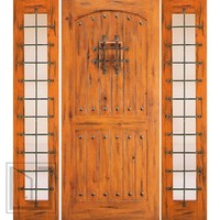 Door with Two Sidelites External Prehung Knotty Alder, Speakeasy