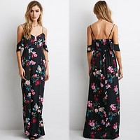 Temperament Fashion Flower Print V-Neck Backless Strap Maxi Dress