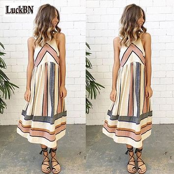 Womens dress 2XL Plus Size O Neck Stripe Patchwork  Lady Summer  Beach Clothing