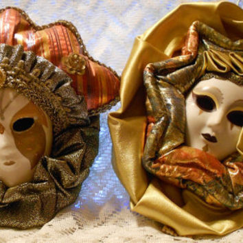 Vintage Mardi Gras Mask Wall Hangings by Anco