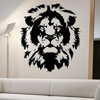 Lion Wall Decal Viinyl Sticker Home Decor Abstract Lion Face Cat Animals