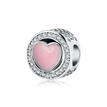 LMF8UH Fits Original Pandora Charms Bracelet 925 Silver Beads Jewelry Making With Pink Enamel Heart 2017 Valentine's Day Gift Berloque