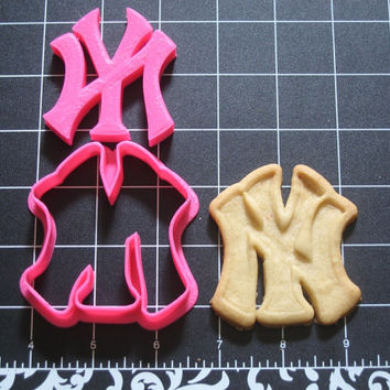 New York Yankees Inspired Cookie Cutter Stamp Set Baseball Pink BPA FREE