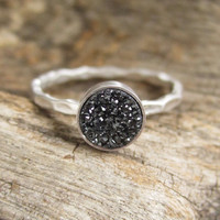 NEW Tiny Black Druzy Ring Titanium Drusy Quartz Sterling Silver Hammered Band