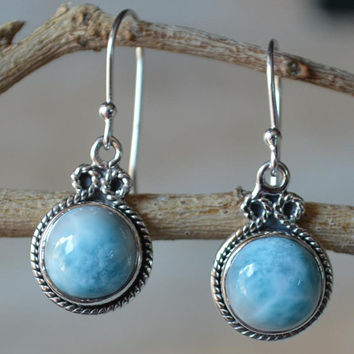 Larimar Earring,Larimar Gemstone Jewellery,Dangle Earring,925 Sterling Silver Earring,Birthday Gift Blue Larimar Stone Women's Jewelry Sale