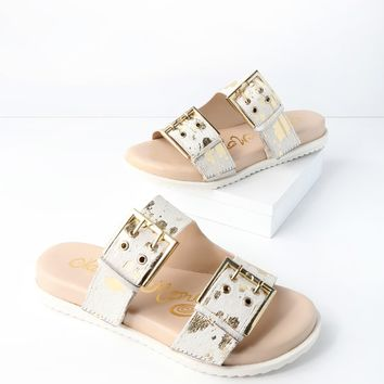 Hey Pony White Pony Fur Slide Sandals
