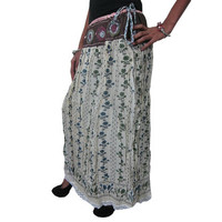 Mogulinterior Womems Long Skirt Floral Printed Fall Maxi Lacework Boho Hippie Skirts