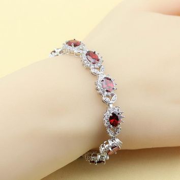 XUTAAYI 925 Silver Jewelry Sets Red Synthetic Garnet Superb Necklace/Rings/Earrings/Bracelet For women Free Gift