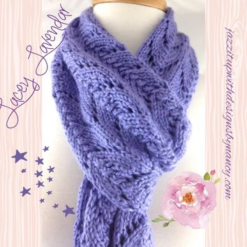 Hand knit Scarf Extra Long Ladies Elegant Lavender Blue Caron Simply Soft