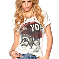 Cat With Baseball Cap Print T-Shirt