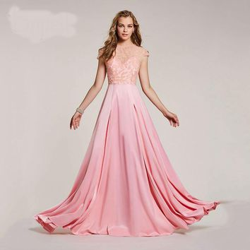 Beaded long dress pink scoop floor length a line gown women cap sleeves wedding party evening formal dresses