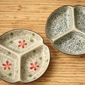 Onsale! Ceramic Plate Flower Pattern Jingdezhen Tableware Fruit Plates 7 Inch ~
