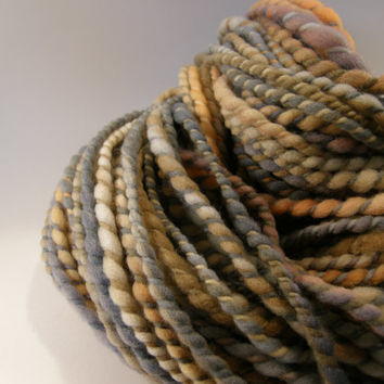 hand spun yarn, handspun yarn, hand dyed yarn, hand painted yarn, merino wool, orange, gray, grey, bulky, super bulky, 2 ply, soft
