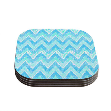 "Marianna Tankelevich ""Mint Snow Chevron"" Blue Chevron Coasters (Set of 4)"