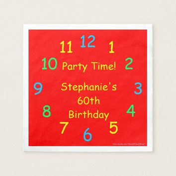 Party Time Paper Napkins, 60th Birthday, Red Napkin