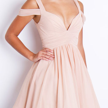 LILY - Dusty White Chiffon Prom Dress