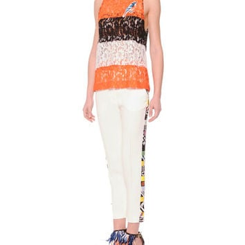 MSGM WIDE-STRIPE SHEER LACE BIRD TOP & SLIM SUIT PANTS WITH EMBROIDERED SIDES