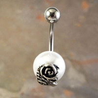 Rose and White Pearl Belly Button Ring Jewelry