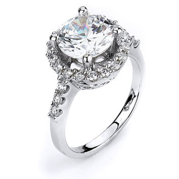 3 Carat Halo Cubic Zirconia Engagement Ring (Silver) by CZ Sparkle Jewelry®