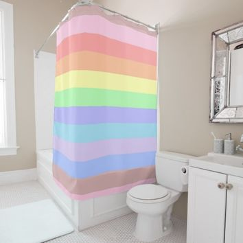 Rainbow Stripes of Pastel Colored Shower Curtain