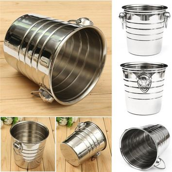 Stainless Steel Cubes Bucket - Barrel Ice Container Barrel Bucket Home Bar Beer Wine Cooler Champagne 18 x 19 cm