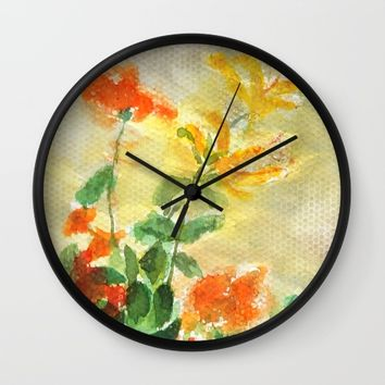 orange and yellow flowers  Wall Clock by Color And Color