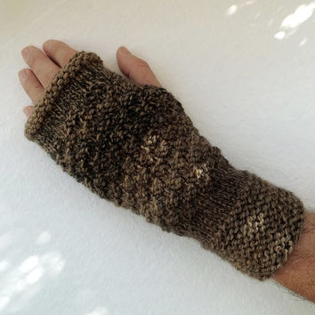 Hand Knitted Fingerless Gloves in Shades of Brown,Knitted Mens Gloves,Warm Winter Gloves,Handmade Gloves,Knit Women Accessory,FREE SHIPPING