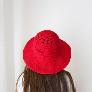 Boho Red Brimmed Floppy Hat Crochet Summer Cotton Slouchy Women Accessory Bohemian Cloche Sun Protection designed by dodofit on Etsy