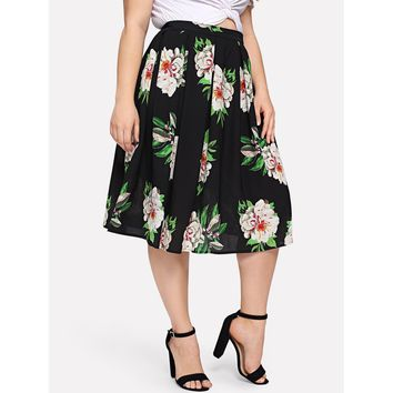 Plus Floral Print Pleated Skirt