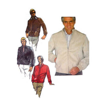Mens Zip Front Jacket Pattern Lined Unlined Windbreaker Adult Teen John Weitz, Size 42 Chest Simplicity 5708 Sewing Pattern Uncut