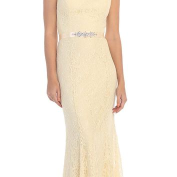 Champagne V-Neck and Back Lace Long Formal Dress