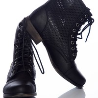 See Through You Perforated Lace Up Boots - Black from Breckelles at Lucky 21