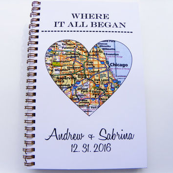 Where It All Began Custom Journal Chicago Heart Map ANY CITY Wedding Gift Notebook Stocking Stuffer Holiday Gift Christmas Gift Chicago Map