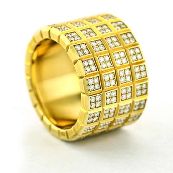 Chopard Ice Cube Diamond Wide Band Ring in Yellow Gold
