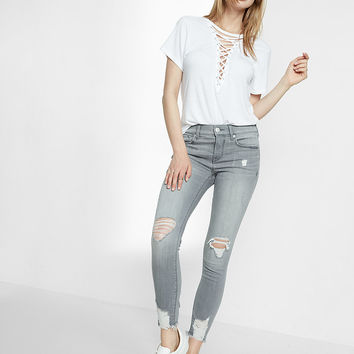 Petite Gray Mid Rise Destroyed Stretch Ankle Jean Leggings