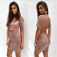 2 piece outfit  dress vintage solid short sleeve backless