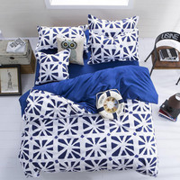 3 Or 4pcs Polyester Fiber Blue White Reactive Dyeing Bedding Sets Twin Full Queen Size