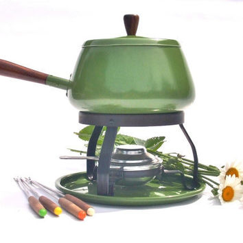 Fondue Pot Set  Retro 1970s Avocado Green by lauraslastditch