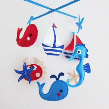 "Baby Mobile - Sea Horse and crab Crib Mobile - Handmade Nursery Mobile - ""Navy Sea Critters"" (Match your bedding)"