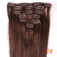 "20"" Full Head Clip in Remy 100% Human Hair Extensions Christmas Gift Wedding freeshipping PICK COLOR WGA"