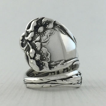 Size 9 Vintage Sterling Silver Poppy Flower Spoon Ring