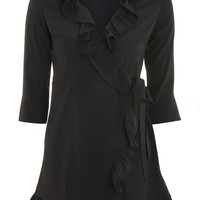 Frill Plain Wrap Dress - New In Fashion - New In