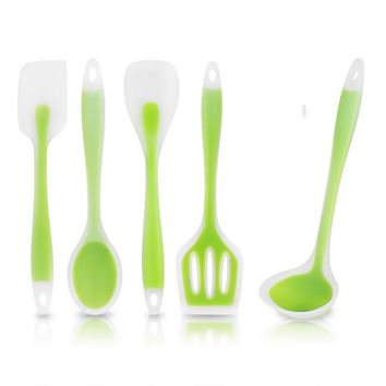 5pcs/set Kitchen Cooking Utensil Set Heat Resistant Cooking Tools including Spoon Soup Ladle Color Green